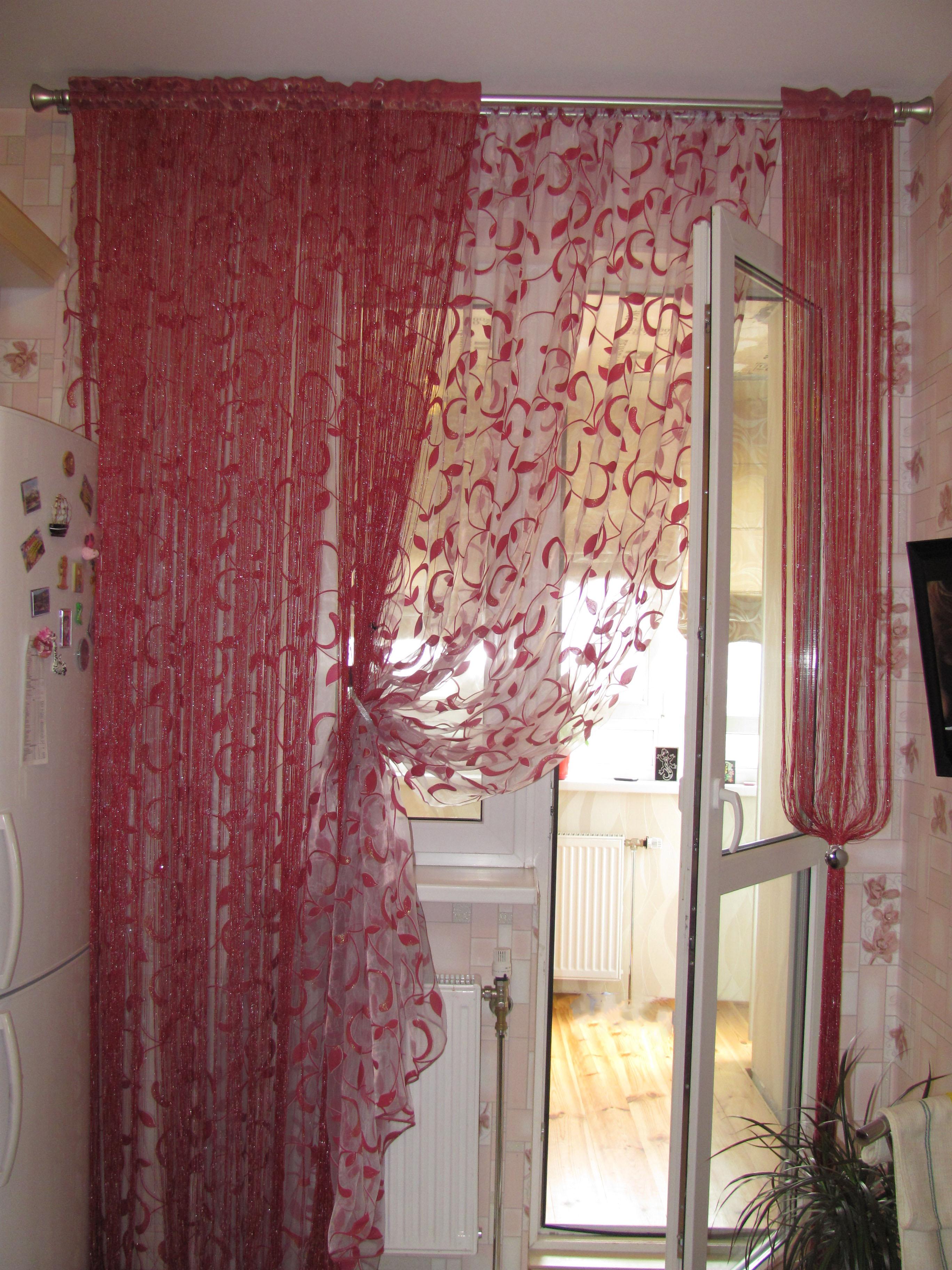 Идеи шторы на кухню с балконом фото